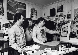 Hipgnosis team in their studio in Denmark Street, london in the 70s